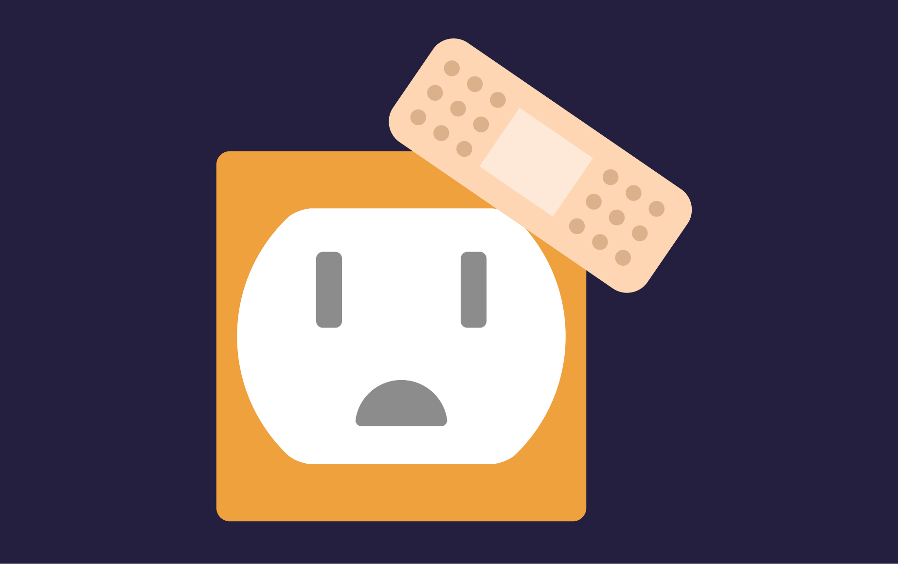 Illustration of a plug with a plaster on it