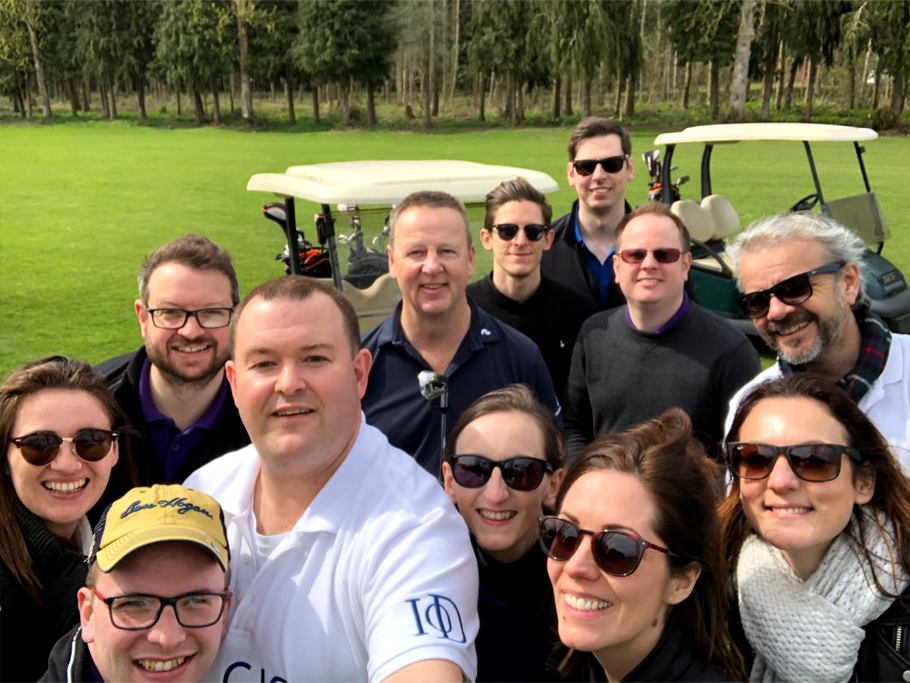Selfie of a group of people on golf course