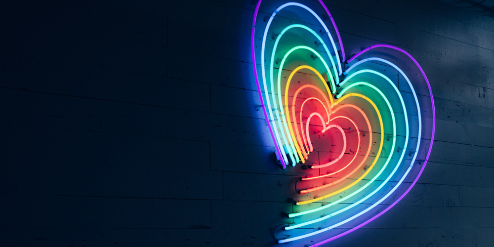 LED lights in shape of heart in multiple colours